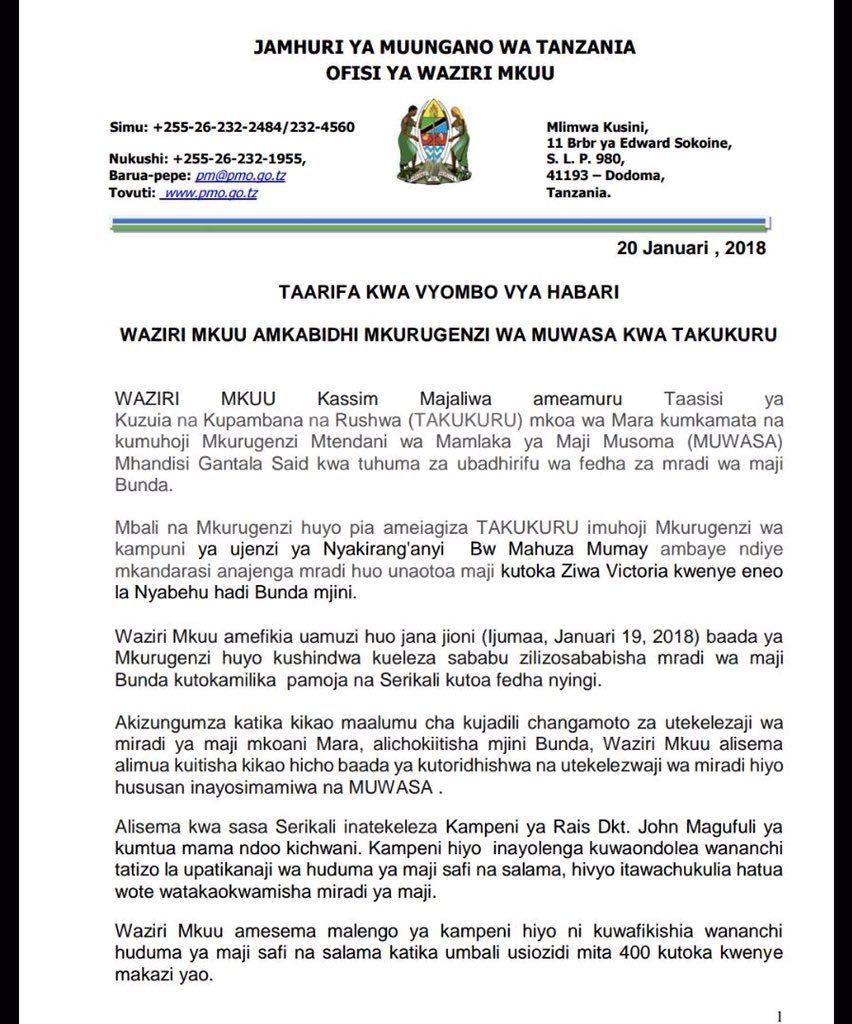 Kassim Majaliwa ameiagiza Takukuru